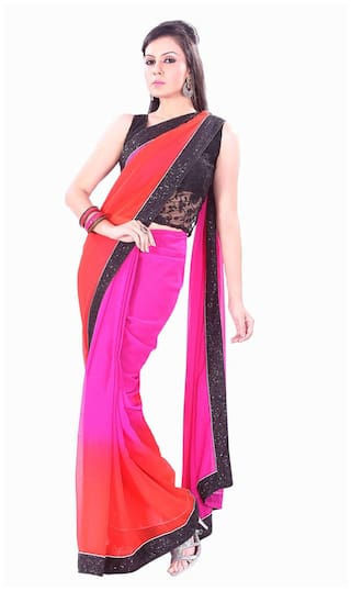Silkbazar Pink Embroidered Universal Regular Saree With Blouse , With blouse