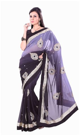 Silkbazar Black Embroidered Universal Regular Saree With Blouse , With blouse