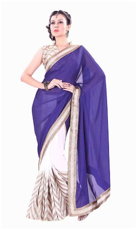 Silkbazar Blue Embroidered Universal Regular Saree With Blouse , With blouse