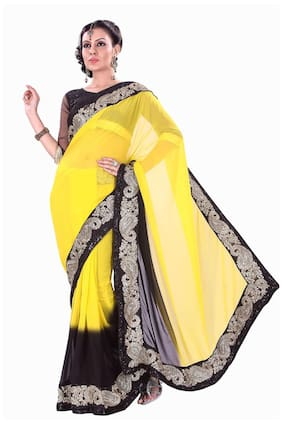 Silkbazar Yellow Embroidered Universal Regular Saree With Blouse , With blouse