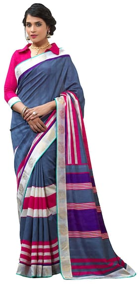 Silkbazar Multicolor Party Wear Silk Printed Bhagalpuri Saree