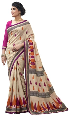 Silkbazar Beige Party Wear Silk Printed Bhagalpuri Saree