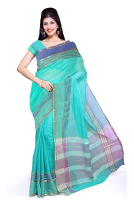 Ishin Cotton Blue Saree (Size-6.3 m )