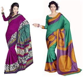 Yuvanika Sarees Multi Bhagalpuri Silk Saree Pack Of 2
