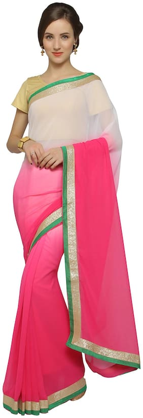 Florence Pink Georgette Embroidered Saree