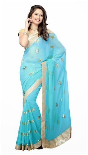 Rangsthali Designer Chiffon Saree With Brocade Blouse