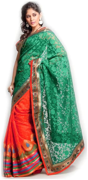 Kataan Bazaar Green Printed Saree