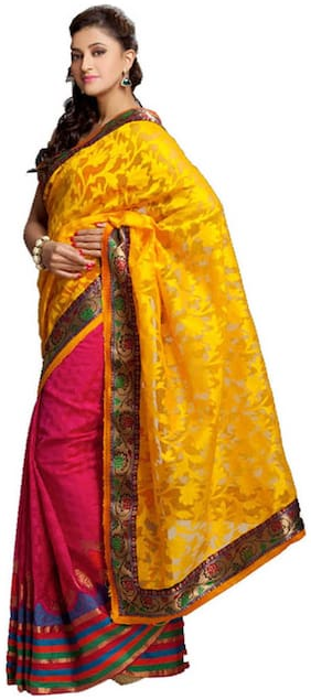 Kataan Bazaar Yellow Banarasi Saree