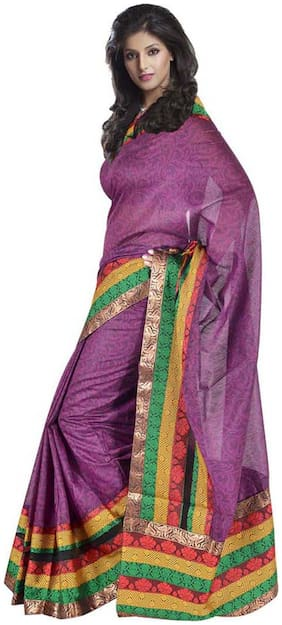 Kataan Bazaar Purple Border Work Saree