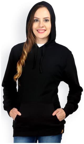 Campus Sutra Black Hooded Sweatshirt Plain (Size-S)