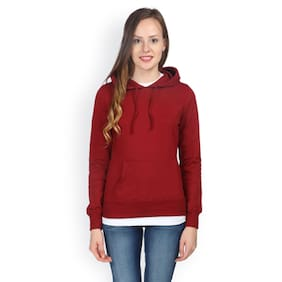 Campus Sutra Maroon Hooded Sweatshirt Plain (Size-S)