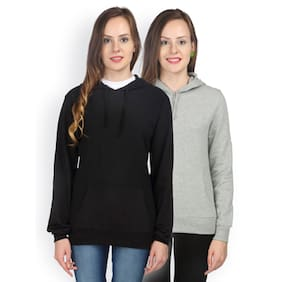 Campus Sutra Hooded Sweatshirt Plain Set Of 2 (Size-S)