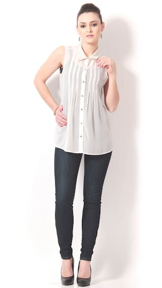 Concepts Ivory Poly Georgette Shirt With Embroidered Collar (Size-38)