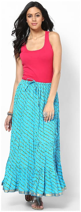 Rajasthani Sarees Cotton Lehariya Printed Long Skirt