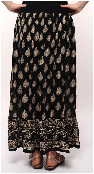 Rajasthani Sarees Jaipuri Gold Print Long Skirt