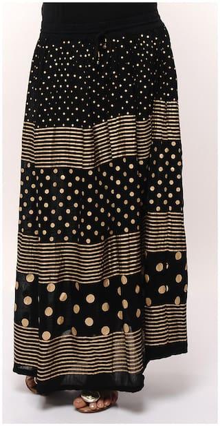 JABAMA Printed Maxi Skirt - Black
