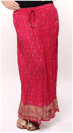 Rajasthani Sarees Crinkled Pink Gold Print Skirt
