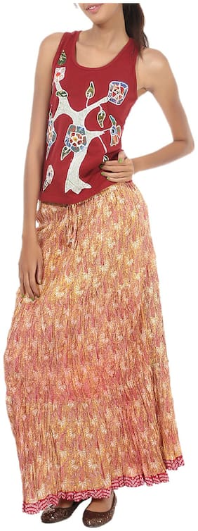 Rajrang Beige  Color Rajasthani Jaipuri Print Long Cotton Skirts for Girls & Women