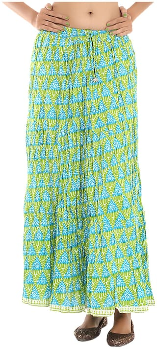 Rajrang Cotton Printed Long Wrap Blue & Green Skirt For Women