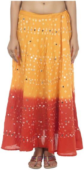 Rajrang Orange Color Rajasthani Jaipuri Print Long Cotton Skirts for Girls & Women