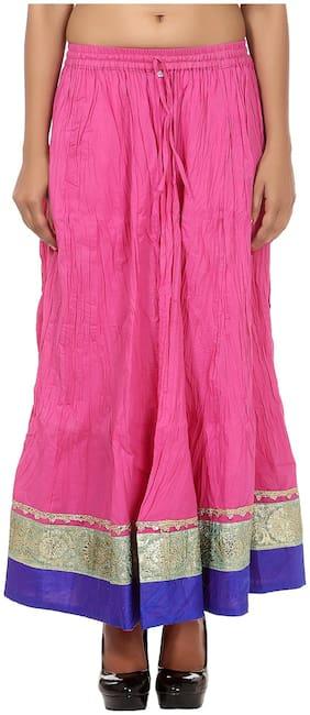 Rajrang Pink Color Rajasthani Jaipuri Print Long Cotton Skirts for Girls & Women
