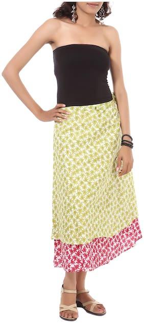 Rajrang Green Color Rajasthani Jaipuri Print Knee Length Cotton Skirts for Girls & Women