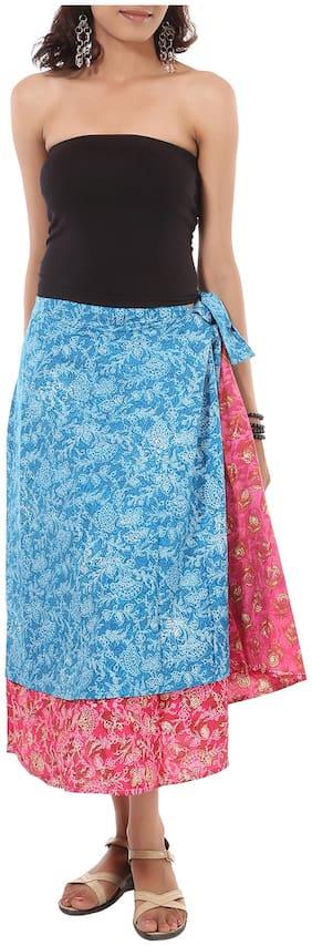 Rajrang Blue Color Rajasthani Jaipuri Print Knee Length Cotton Skirts for Girls & Women