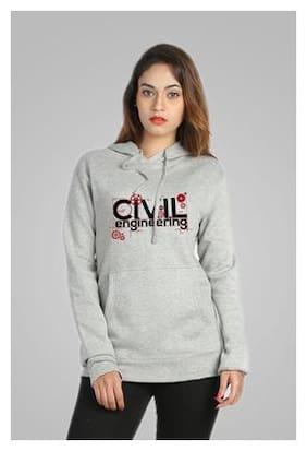 Campus Sutra Grey Hooded Sweatshirt Civil Engineering (Size-S)