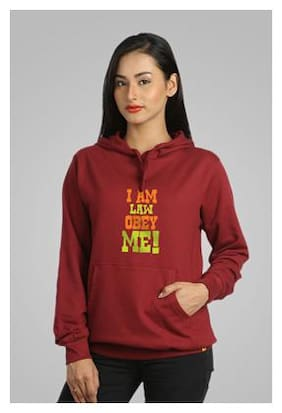 Campus Sutra Maroon Hooded Sweatshirt I am Law Obey Me (Size-S)