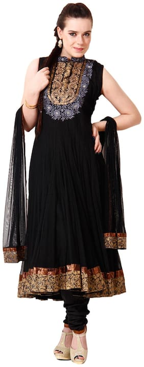 Concepts Black Net Stitched Anarkali Suit