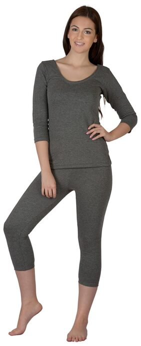 Selfcare Women Polyester Thermal Set - Grey