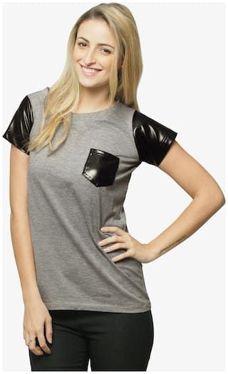Miss Chase Women's Grey Round Neck Short Sleeves Leather Pocket Basic Top
