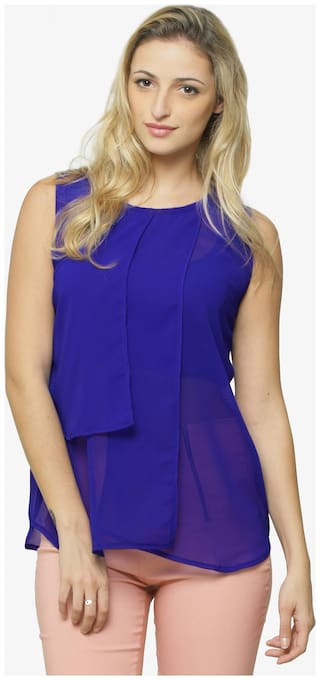 Miss Chase Women Solid Regular top - Blue