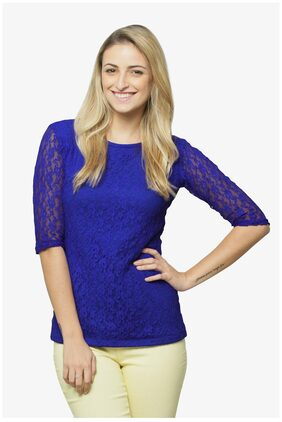 Miss Chase Women's Cobalt Blue Round Neck 3/4 Sleeves Lace Top