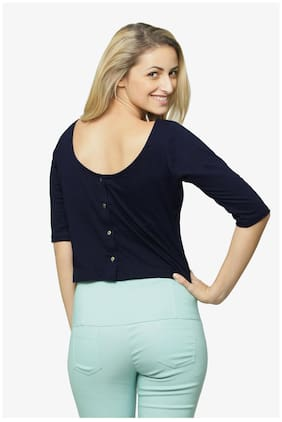 Miss Chase Women's Navy Blue Round Neck 3/4 Sleeves Button Up Top