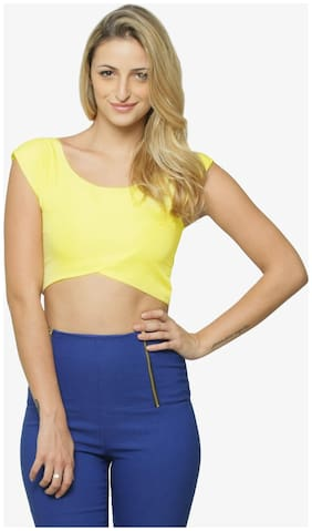 Miss Chase Women's Yellow Round Neck Sleeveless Solid Crop Top