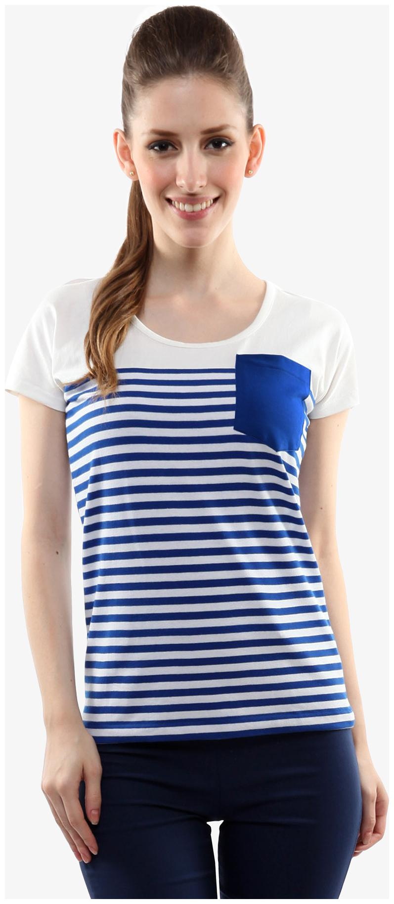 Miss Chase Women's Blue and White Round Neck Short Sleeves Striped Top