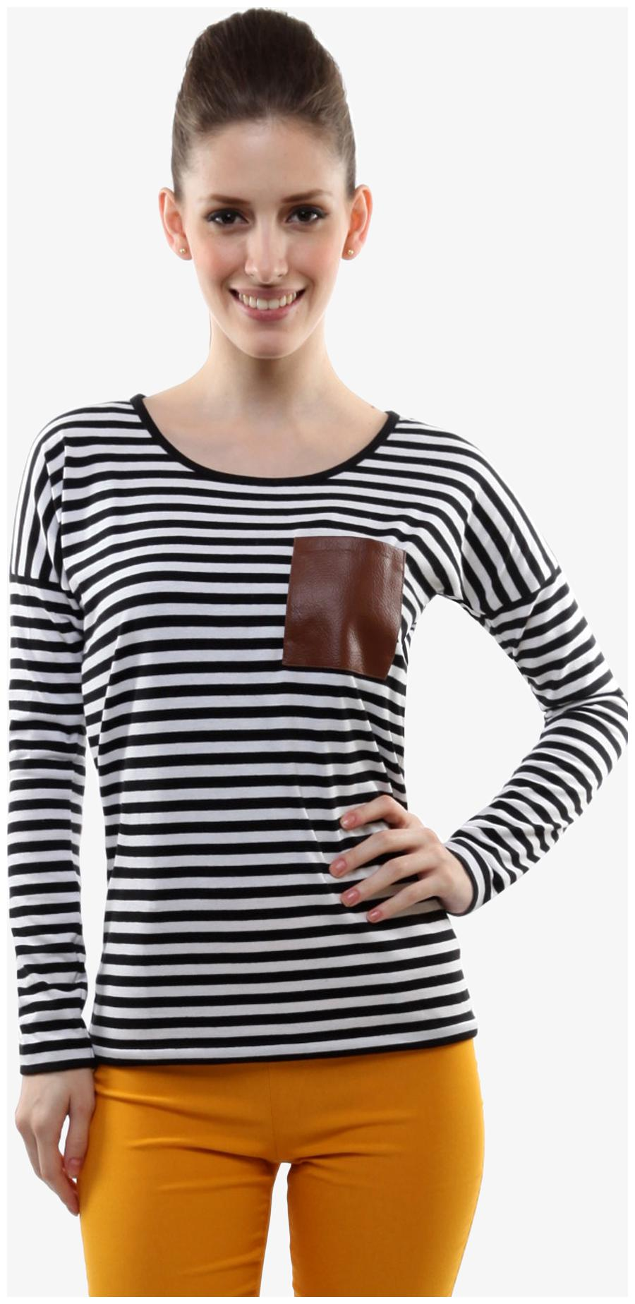 Miss Chase Women's Black and White Round Neck Full Sleeves Striped Top by Miss Chase
