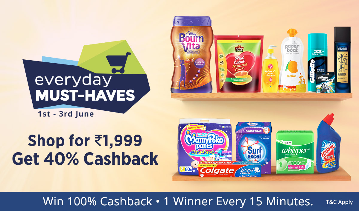 Paytm - Everyday MustHave Products Upto 50% Discount + 40% Cashback On Rs.1999