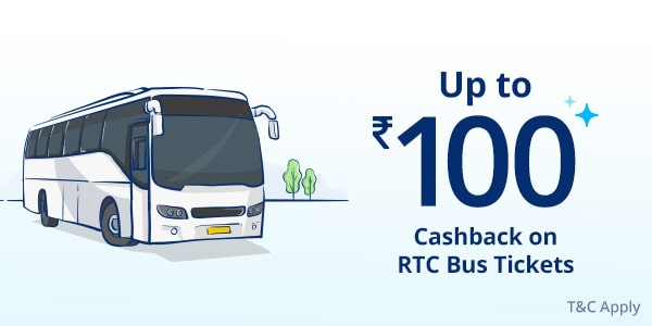 Users get 6% Cashback upto ₹100 on bus ticket booking