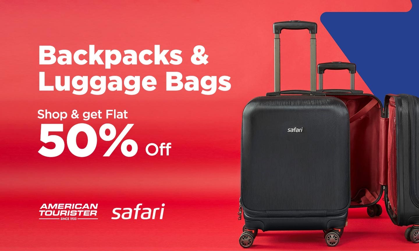 Backpack & Luggage| Flat 50% off