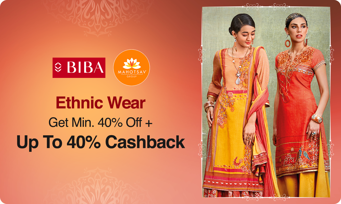 Ethnic Wear | Min 40% Off + Up To 40% Cashback