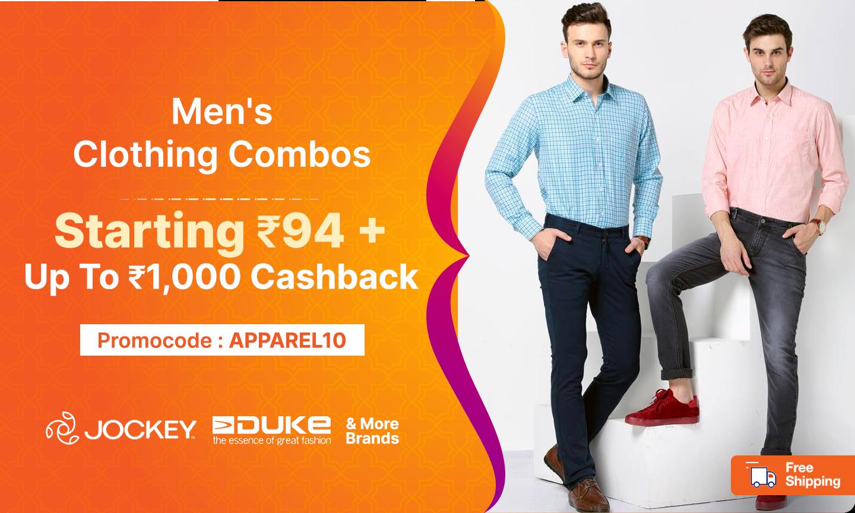 Men Clothing Combo   Starting Rs 94
