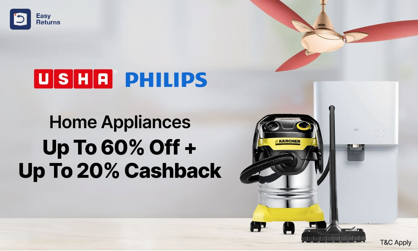 Home Appliances | Upto 60% Off on MRP + Upto 25% Cashback