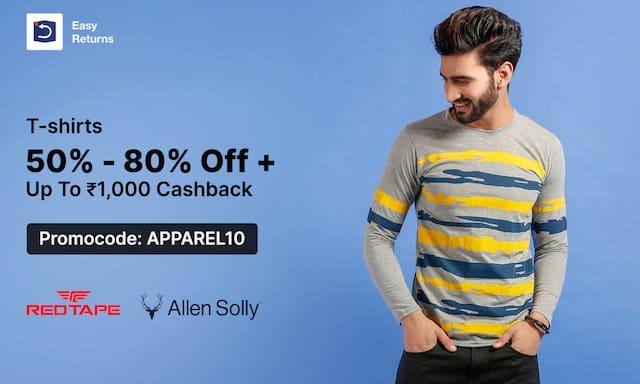 T-shirts | Min 50%-80% |  Upto 1000 Cashback