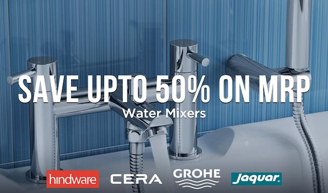 Water mixers - upto 50% Off on MRP - Brand logo - Hindware , jaquar , cera and grohe
